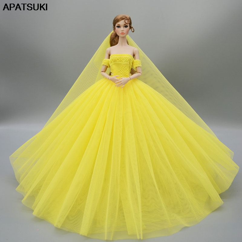 Us 4 97 40 Off Yellow Fashion Wedding Dress For Barbie Doll Clothes Evening Dresses Gown Long Outfits With Veil 1 6 Accessories In Dolls