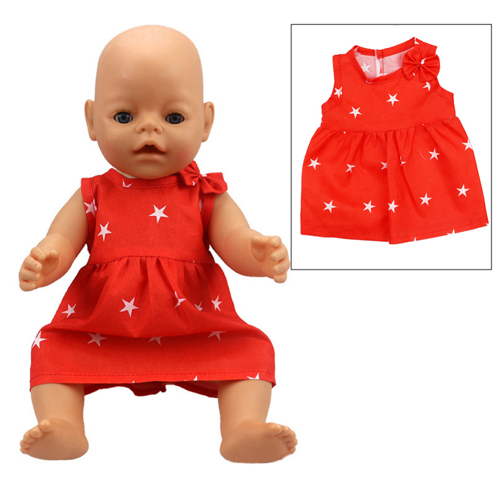 Handmade Red Skirt Dress Doll Clothes Wear with Five-pointed Star Patterns for 18 American Girl & 43cm/16.93in Baby Born Doll american girl doll clothes elegant color flower print long dress doll clothes for 18 american girl best gift 5 colors d 2