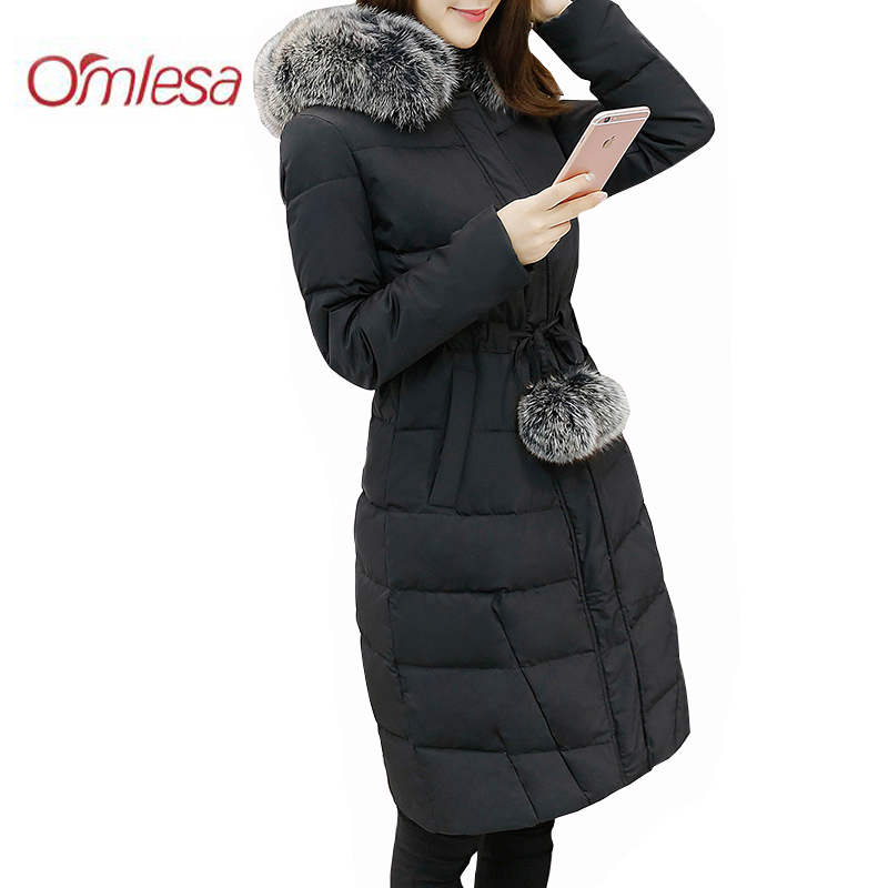 OMLESA 2017 Fashion Long Winter Women Duck Down Jacket Large Fur Collar Hooded Thickening Loose Down Coat Female Parkas DQ061 2017 new fashion winter parkas large fur collar hooded jacket loose cotton coat thickened student long coat female outwears