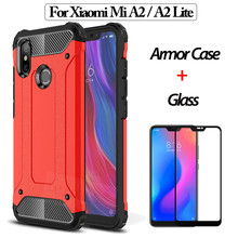 ALLORUS Rugged Armor Xiaomi Mi A2 Lite Case Luxury Shockproof Case mi a2 lite 360 Full Protective Glass + Case xiaomi mi a2 смартфон xiaomi mi a2 lite 3 32 gb синий