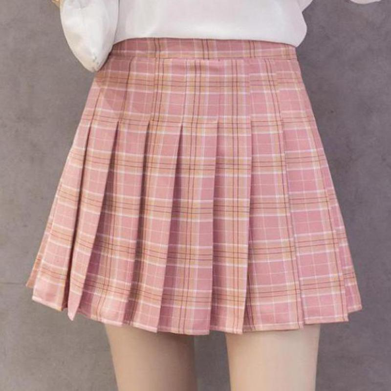 Zuolunouba Summer High Waist Women Skirt School Girl Faldas Pleated Plaid Skirt Sexy Zipper Pink Blue Red Mini Skirt Jupe Femme