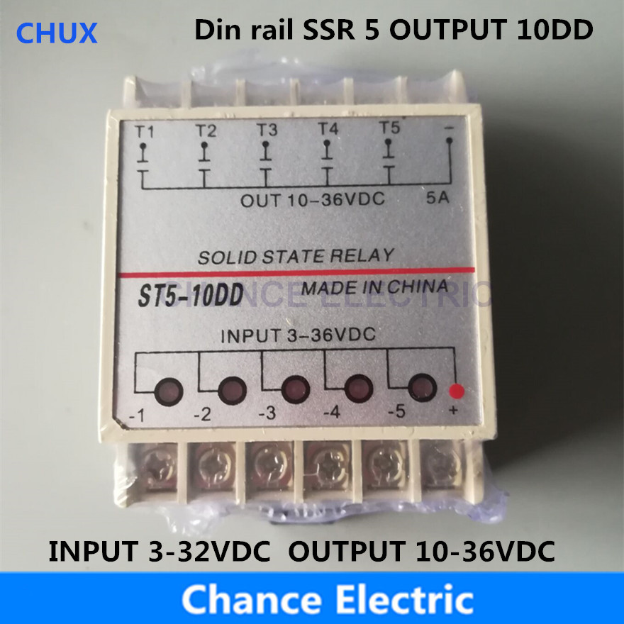 10DD 5 Channel Din Rail SSR Quintuplicate Five Input Output 24VDC Single Phase DC to DC 10A Solid State Relay PLC Module цена 2017