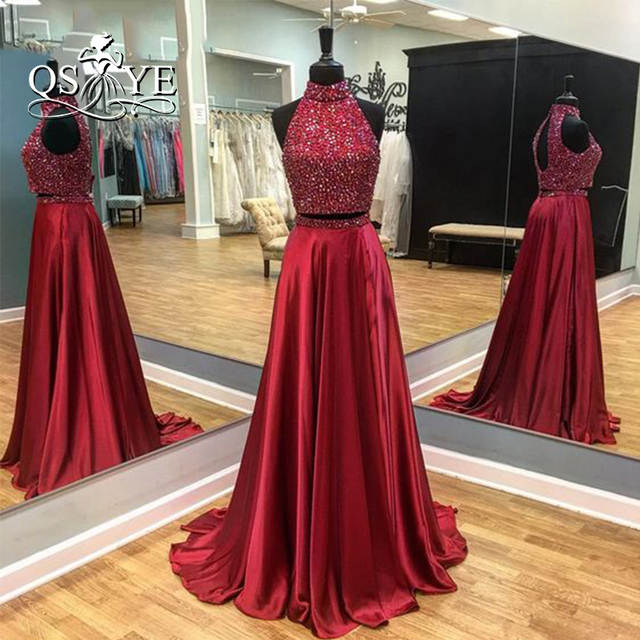 aff81fe66c Real Photos 2017 Burgundy Sexy Two Piece Prom Dresses High Neck Beaded Top  Sweep Train Satin