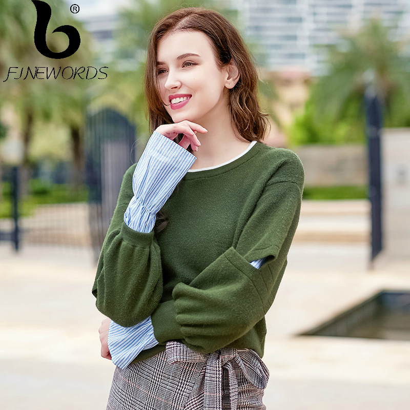 FINEWORDS Knitted Pullover Christmas Sweater Women O-neck Vintage Winter Loose Knit Sweater Hollow Out Long Sleeve pull femme