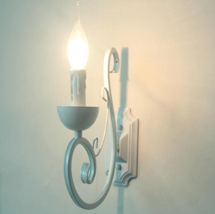Vintage Metal Wall Lamps White Color E14 Candle Light Lamp Bedroom bedside Lighting Fixture Iron ...