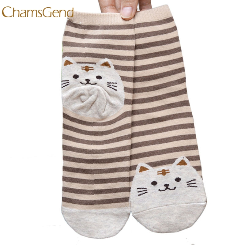 2018 3D Animals Striped Cartoon Socks men Cat Footprints Cotton Socks Floor Dropshipping