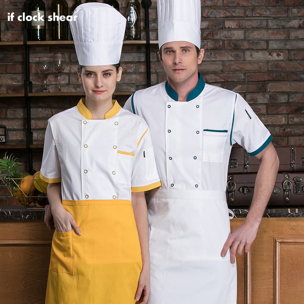 Unisex Food Service Chef Restaurant Uniform Short Sleeved Cotton Breathable Hotel Kitchen Work Clothes High Quality Chef Jackets