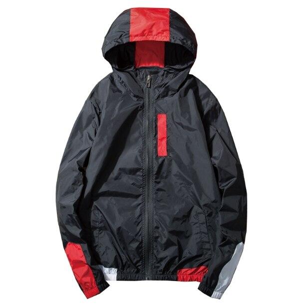 badf0b1fc Comprar Splicing e correspondência de cores com capuz windbreaker casacos