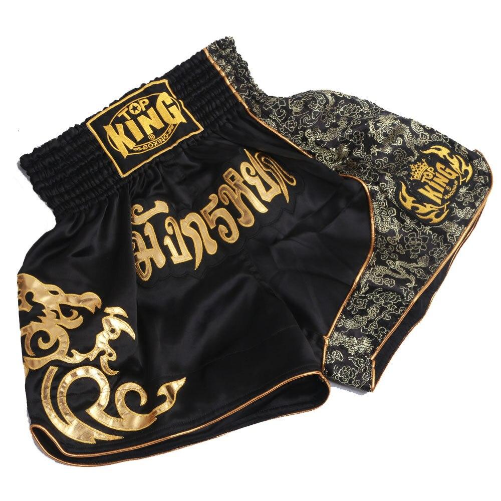 Prix pour 2016 NOUVEAU Livraison Gratuite Fighting Shorts Muay Thai Short De Boxe Pantalons Hommes de Sport Vêtements Boxeo de Combat Libre D'or flamme