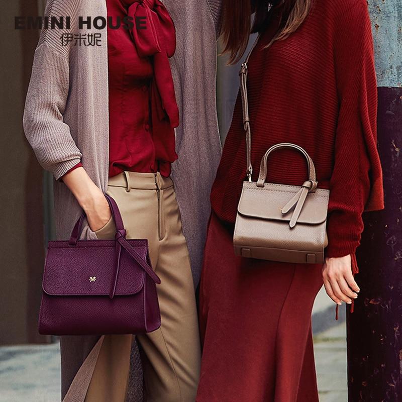 EMINI HOUSE Bow Tie Luxury Handbags Women Bags Designer Women s Genuine Leather Handbags Litchi Grain