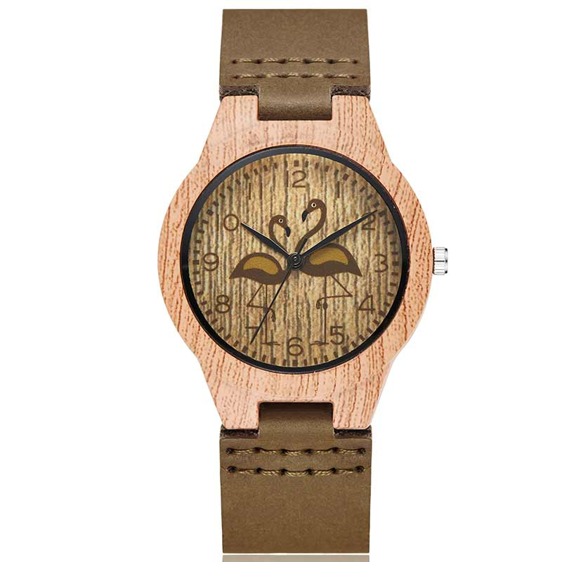 Mens Watches Top Brand Luxury Flamingo Imitation Wood Case Women Watch Artificial Wooden Leather Strap Watches Relogio MasculinoMens Watches Top Brand Luxury Flamingo Imitation Wood Case Women Watch Artificial Wooden Leather Strap Watches Relogio Masculino