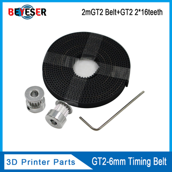 цена на Hot 3D Printer Parts Accessory 2pcs GT2 16teeth 16 teeth Timing Alumium Pulley Bore 5mm Width 6mm With 2meters 2m 6mm GT2 Belt