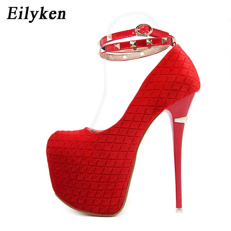 Eilyken 2019 New Rivet Buckle Strap Sexy Pumps Red Wedding shoes Women Pumps Platform Party shoes For Women Eilyken 2019 New Rivet Buckle Strap Sexy Pumps Red Wedding shoes Women Pumps Platform Party shoes For Women