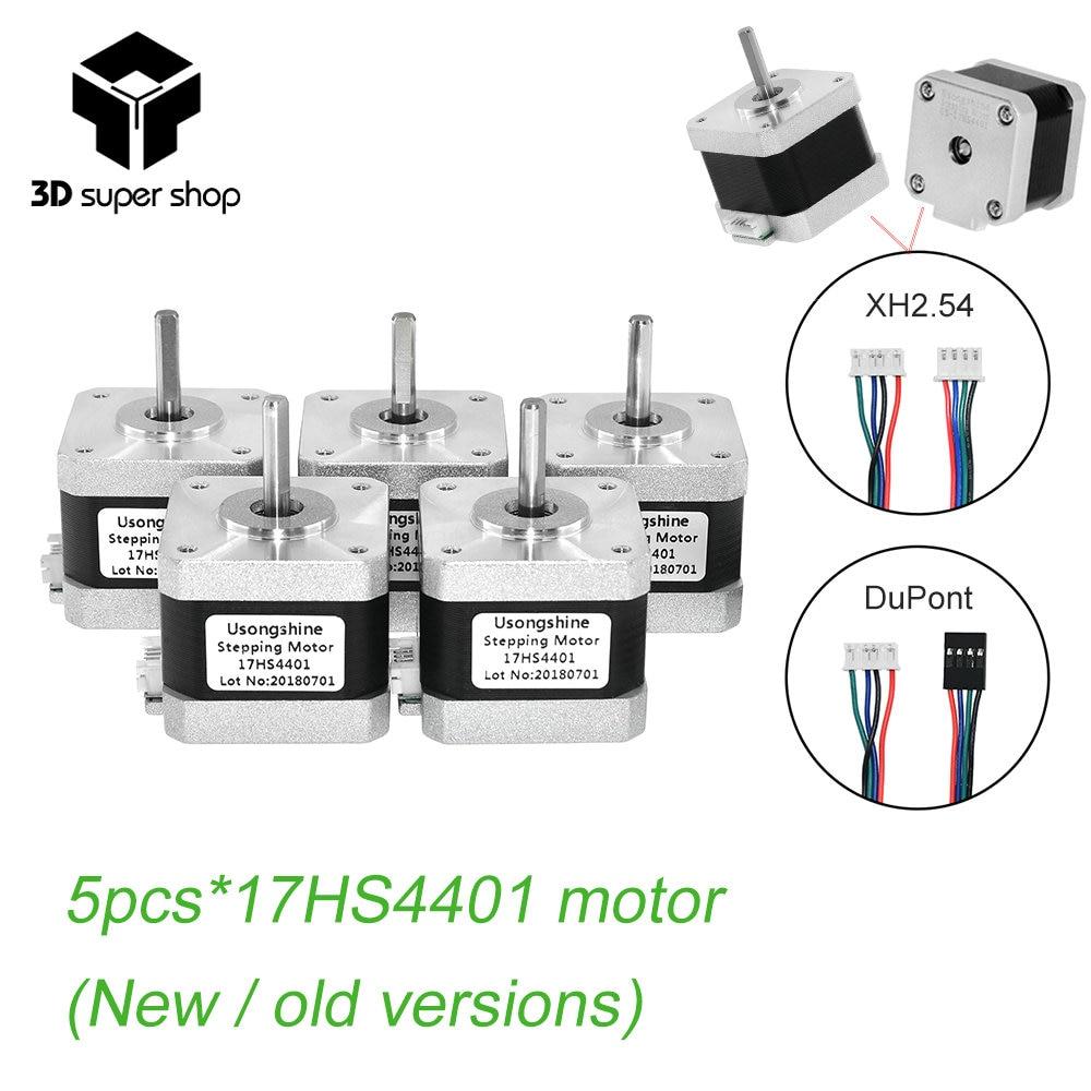 5 piezas 4 Plomo Nema17 Stepper Motor 42 motor Nema 17 motor 42 BYGH 40mm 1.7A (17HS4401) motor para CNC XYZ para 3D impresora