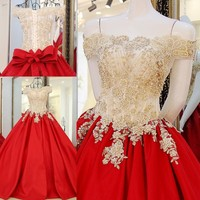 Custom Made 2016 Bridal Marriage Gowns A Line Red Dress Lace Rhinestone African Wedding Dresses Vestidos