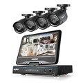 """SANNCE 8-КАНАЛЬНЫЙ 720 P DVR со встроенным 10.1 """"ЖК-монитор и (4) HD 1500tvl 1.0MP CCTV Пуля Камеры БЕЗ Жесткого Диска"""