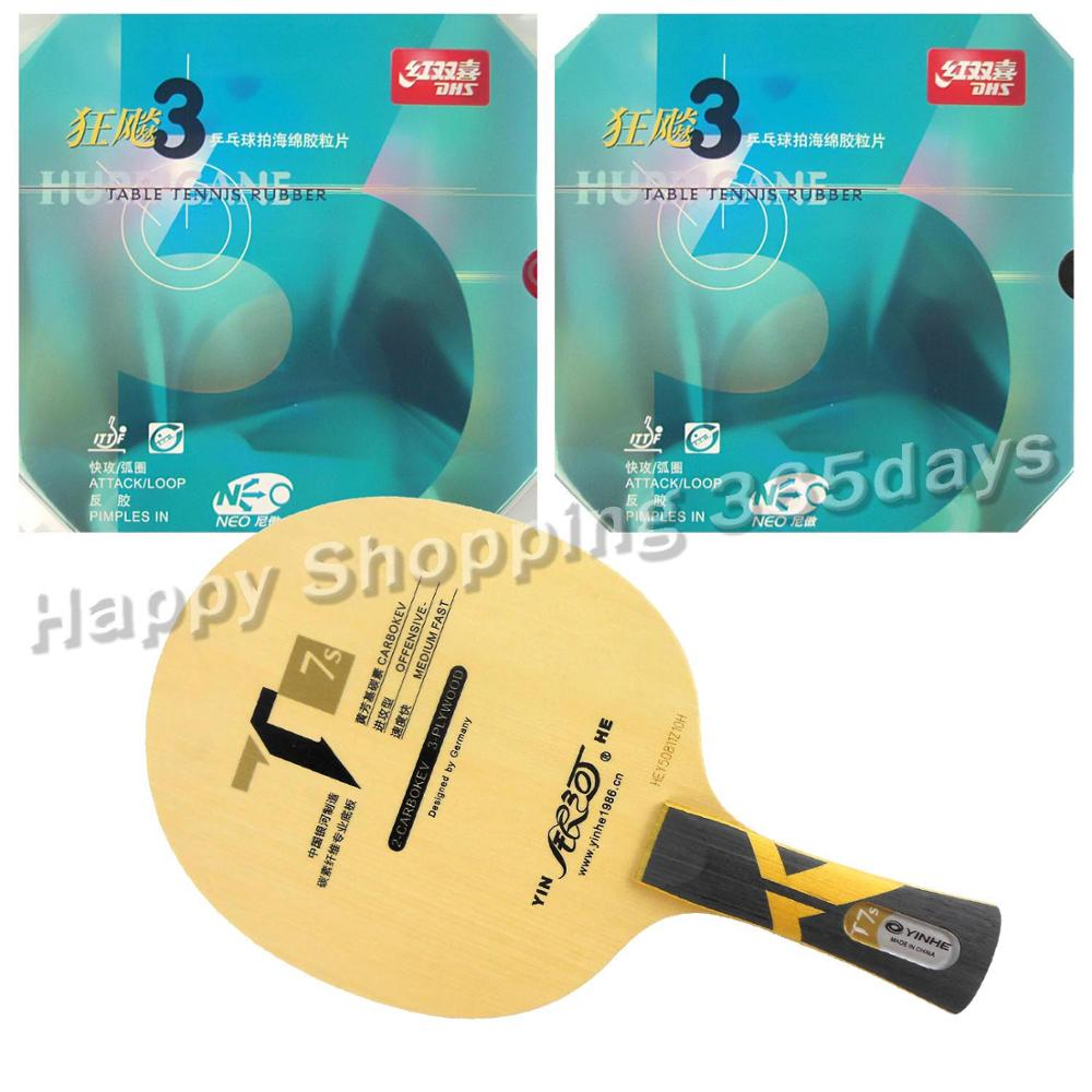 Pro Table Tennis PingPong Combo Racket Galaxy YINHE T7s Blade with 2x NEO Hurricane 3 Rubbers Long shakehand FL pro table tennis pingpong combo racket galaxy yinhe t7s blade with 2x sanwei t88 iii rubbers shakehand long handle fl