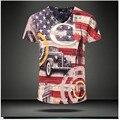 2015 новый летний старинные с коротким рукавом v шеи 3d напечатаны майка мужчин марка свободного покроя хлопка футболку мужская одежда животных m-3XL