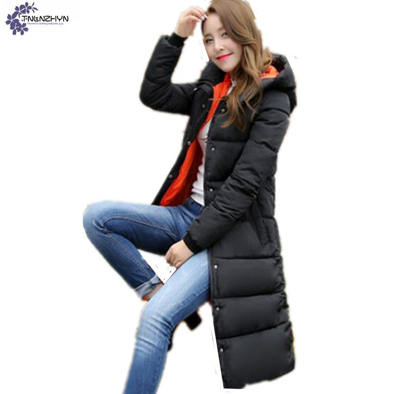 TNLNZHYN 2017 NEW Autumn Winter Jacket Women Cotton-padded Plus Size Coat Thicken Warm Parkas Hooded long Female Overcoat TT720 new mens warm long coats lady cotton warm jacket padded coat hooded parkas coat winter top quality overcoat green black size 3xl