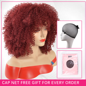 Image 4 - Amir Afro Kinky Curly Short Wigs for Black Women  Mix Brown color Synthetic Wig with combs inside Cosplay
