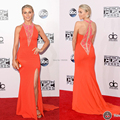 Sexy See-through Deep V-neck Off Shoulder Red Carpet Celebrity Gowns Women Formal Gowns American Music Awards 2014