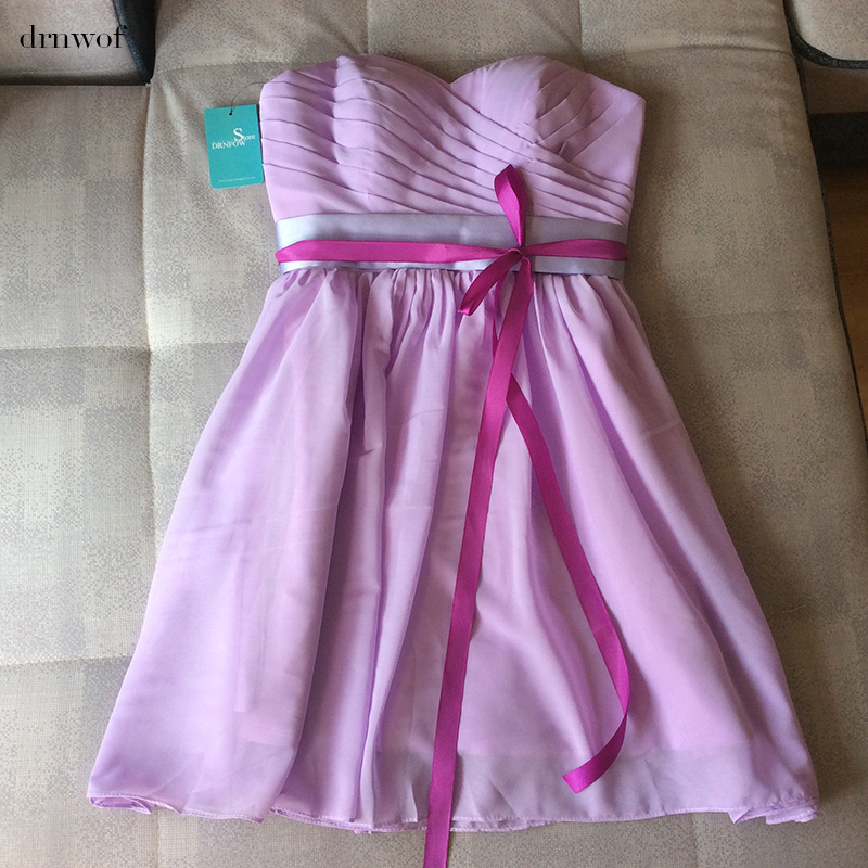 Drnwof 17 strapless short bridesmaid dresses with belt for Lilac dress for wedding
