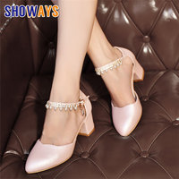 Pink Summer Women Pumps High Block Heel PU Pointed Toe White Bridal Party Pearl Crystal Ankle Strap D'Orsay Hollow Ladies Shoes