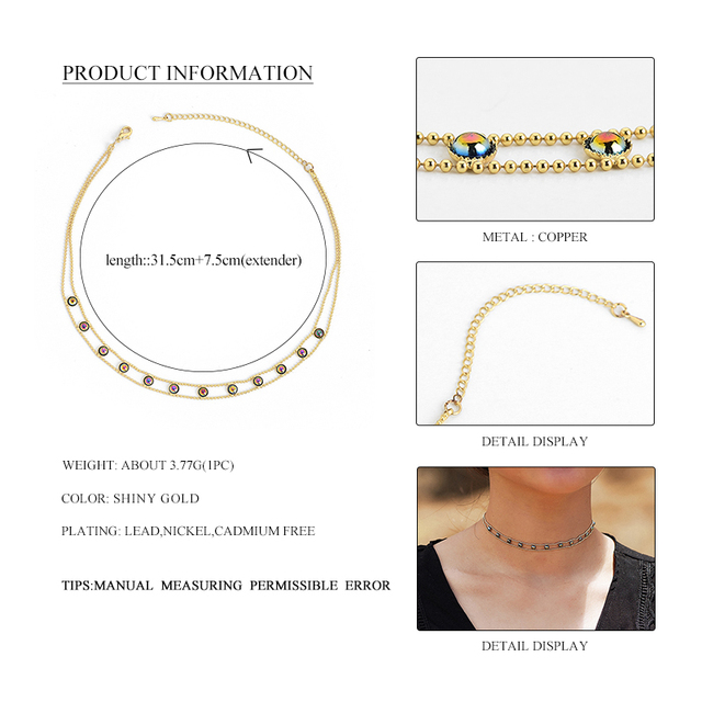 Wild&Free Fashion Gold Short Chain Choker Necklace For Women Copper Colorful Beads Hollow Chokers 2017 collier bijoux Jewellery