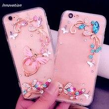 Innovation Phone Cases For iphone X 8 Plus Finger Holders Ring Case 3D Bling Diamond Clear Hard Back Cover 7 6 6S 5S