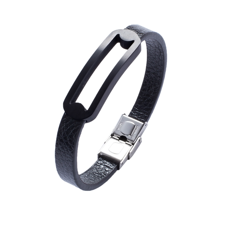 Minimalism men's bracelet simple fashion style pure color leather bracelet stainless steel frame bracelet PW725