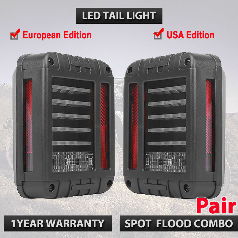 Pair of LED Tail Lights for 2007-2015  Wrangler Tail Light Brake Reverse Turn Singal Lamp Back Up Rear Parking Stop Running 1pair led side maker lights for jeeep wrangler amber front fender flares parking turn lamp bulb indicator lens