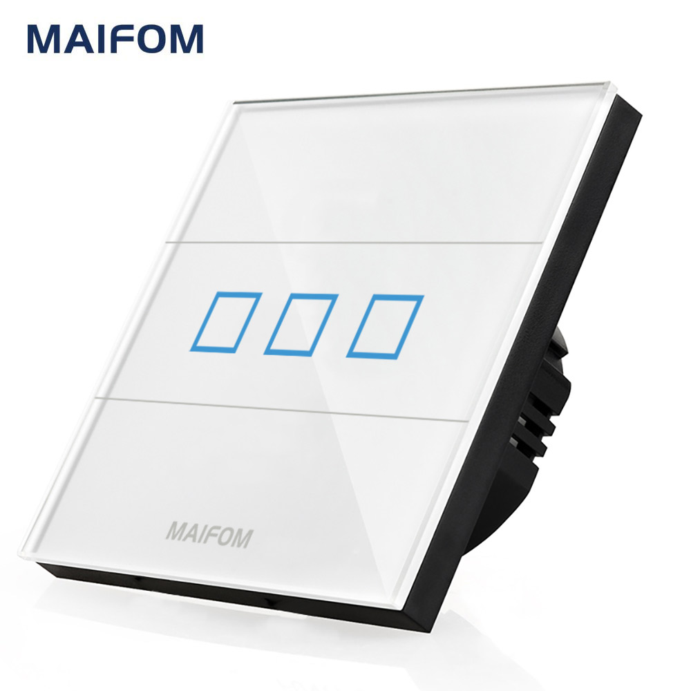 MAIFOM Light Switch 3 Gang 1 Way Wall Mounted Crystal Glass Touch Panel Waterproof 110-240V Capacitive Touch Wall Switch smart home us au wall touch switch white crystal glass panel 1 gang 1 way power light wall touch switch used for led waterproof