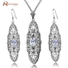 Fashion Birthday Party Jewelry Sets Zirconia 925 Sterling Silver Classic Drop Earring Pendant for Women Wedding Bridal Wholesale