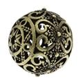 Дорин коробке hot-медные бусины-спейсеры круглый старинная бронза с изображением цветка узор полые около 17 мм x 16 мм, Отверстие: Приблизительно: 2 мм, 5 шт. (B32379) - фото