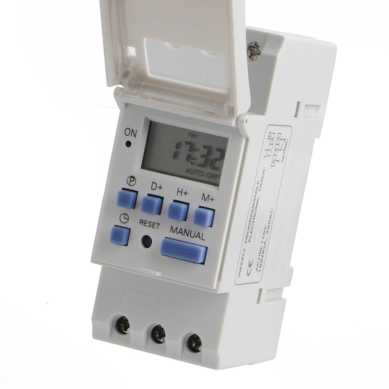 New DIN Rail Time Relay Switch Digital LCD Power Programmable Timer DC 110V