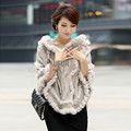 2017 New Woolen Poncho Women's Casual Knitted Fur Shawl Real Rabbit Fur Trim Hood Solid Colour Hooded Pullover AU00834