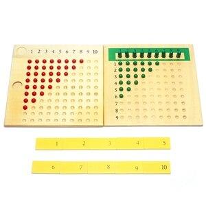 Image 2 - Matériaux Montessori en bois, jouets denseignement des mathématiques, Multiplication et Division de jouets mathématiques, planche à perles apprentissage rouge vert