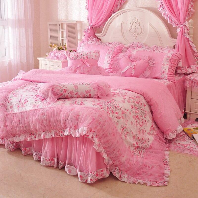 Принцесса Пастырское Свадебные домашний текстиль 4 шт. 100% хлопка постельных принадлежностей 2015 зима печати постельное белье пододеяльник л