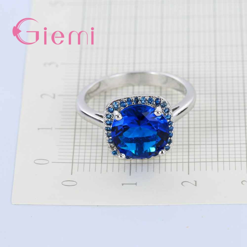 GIEMI Women Christmas Gift Unique Square CZ Crystal Ring Shiny Blue ...