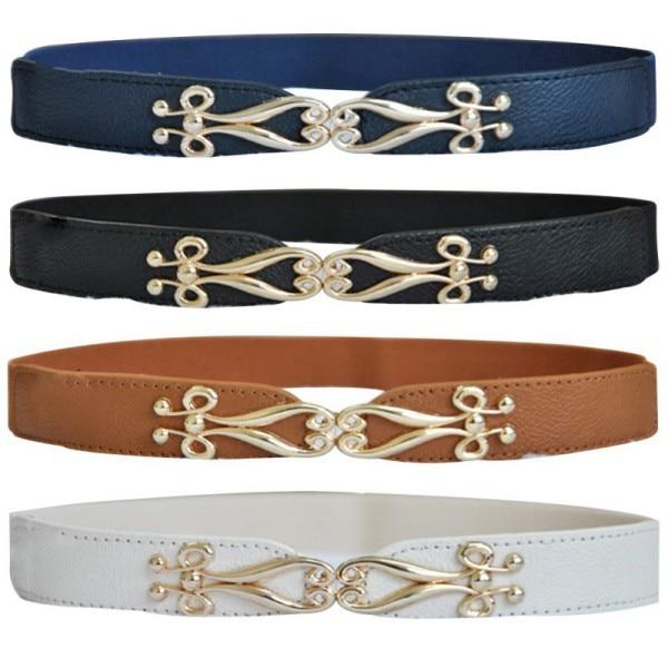 Women Fashion Thin Flower Gold Metal Buckle Elastic Stretch Corset Waist Belt