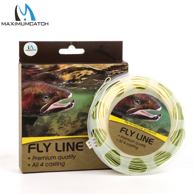 Best Price Maximumcatch 90FT Trout Fly Fishing Line 4/5/6wt Beige/Sage Weight Forward Floating Fly Line With Welded Loops