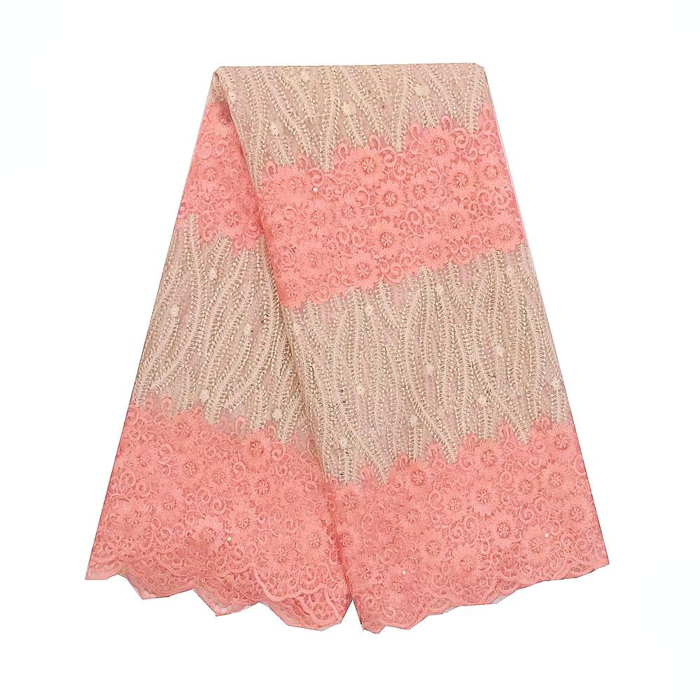 French Lace Fabric With Beads And Stones