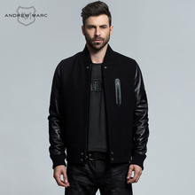 ANDREW MARC 2016 New Arrival Autumn & Winter Genuine Leather Wool Blends Men's Jacket Coat Short Slim Outwear TM6AN001