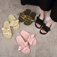 Silk Bow Slides Women Summer Beach Shoes Woman No Fur Slippers Flat Heels Flip Flops Ladies Rihanna Bohemia Sandalshome shoes
