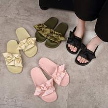 Silk Bow Slides Women Summer Beach Shoes Woman No Fur Slippers Flat Heels Flip Flops Ladies Rihanna Bohemia Sandalshome shoes