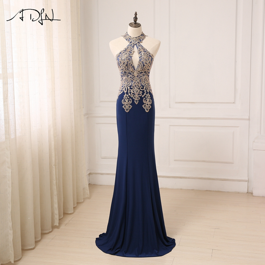 ADLN New Arrival Sexy Halter Evening Dresses with Shinny Gold Applique Mermaid Formal Party Gowns Vestidos