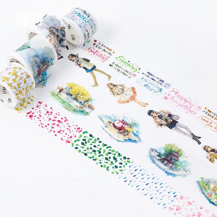 Four Season Washi Tape Adhesive Tape DIY Scrapbooking Sticker Label Masking Tape