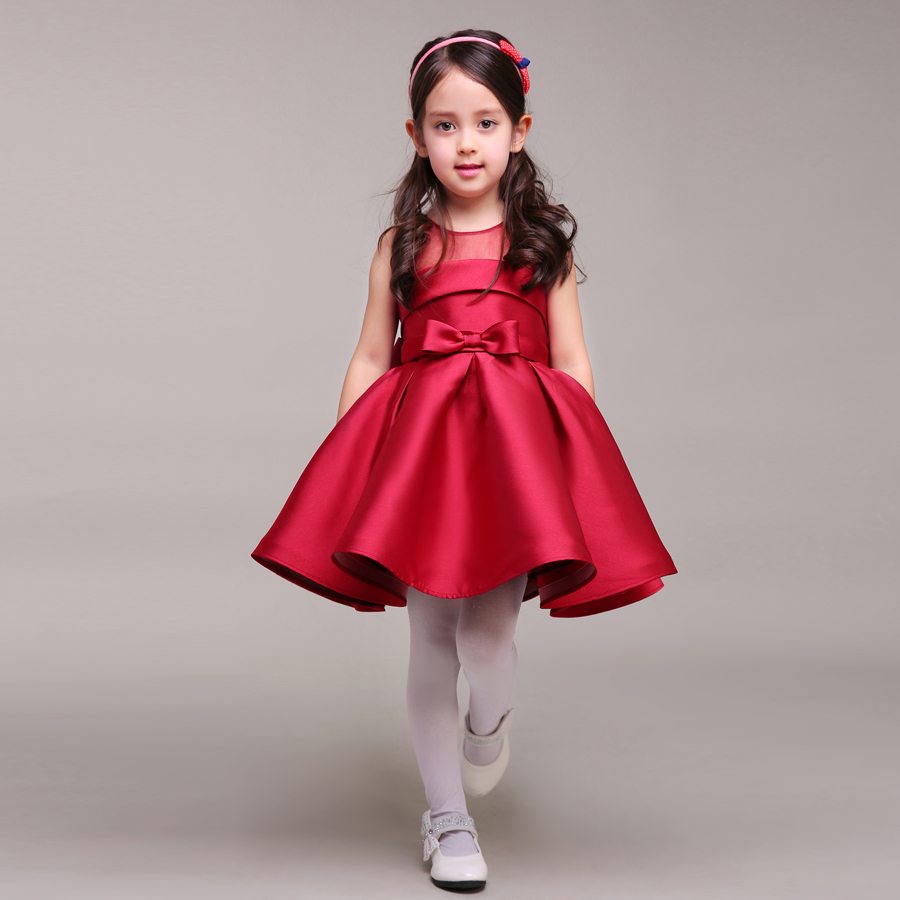 Wedding Little Girls Dresses aliexpress com buy dark red taffeta little girl dress with bow round neck short kids formal gown for weddings custom size from r