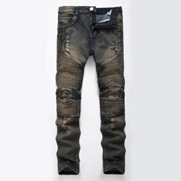 High Quality Motorcycle Pants Punk Homme Blue Print Biker Men Jeans Ripped Slim Fit Hip Hop