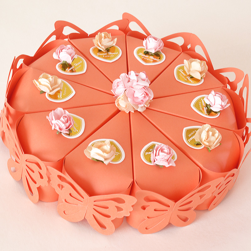 100pcs (10 cakes) Orange butterfly Cake Candy Boxes with Flower ...